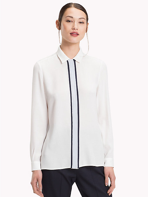 TOMMY HILFIGER Plain Bold Placket Shirt - SNOW WHITE - TOMMY HILFIGER NEW IN - main image