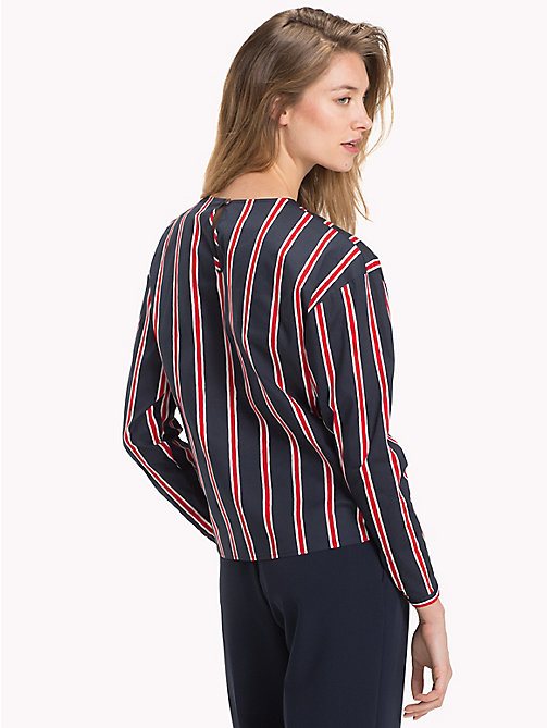 TOMMY HILFIGER Knot Front Blouse - PAINTED STP / FLAME SCARLET - TOMMY HILFIGER Sustainable Evolution - detail image 1