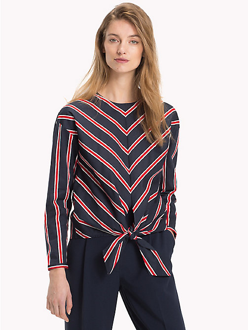 TOMMY HILFIGER Knot Front Blouse - PAINTED STP / FLAME SCARLET - TOMMY HILFIGER Sustainable Evolution - main image