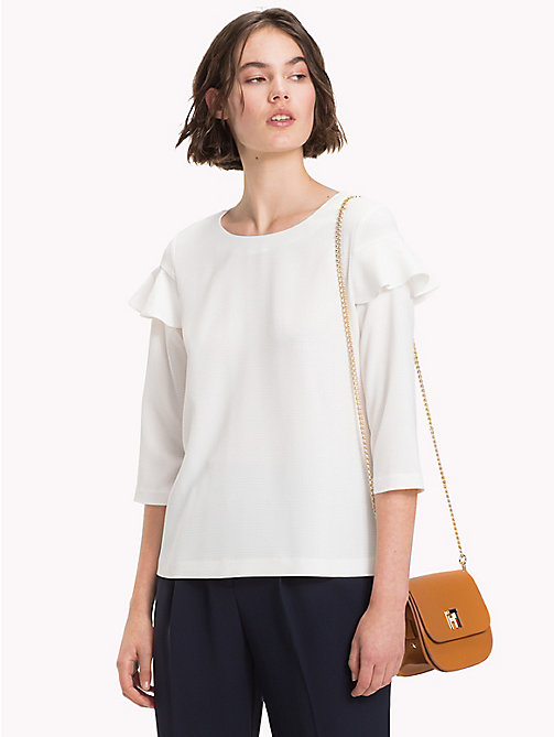 TOMMY HILFIGER Textured Check Ruffle Blouse - SNOW WHITE - TOMMY HILFIGER Blouses - main image