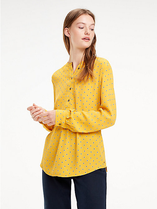 TOMMY HILFIGER Crepe Paisley Blouse - OUTLINE POLKA / SUNFLOWER - TOMMY HILFIGER NEW IN - main image