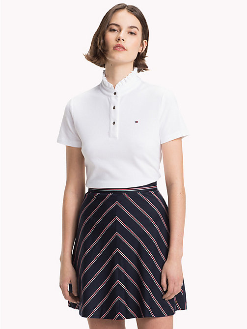 TOMMY HILFIGER Frill Neck Polo Shirt - CLASSIC WHITE - TOMMY HILFIGER Polo Shirts - main image