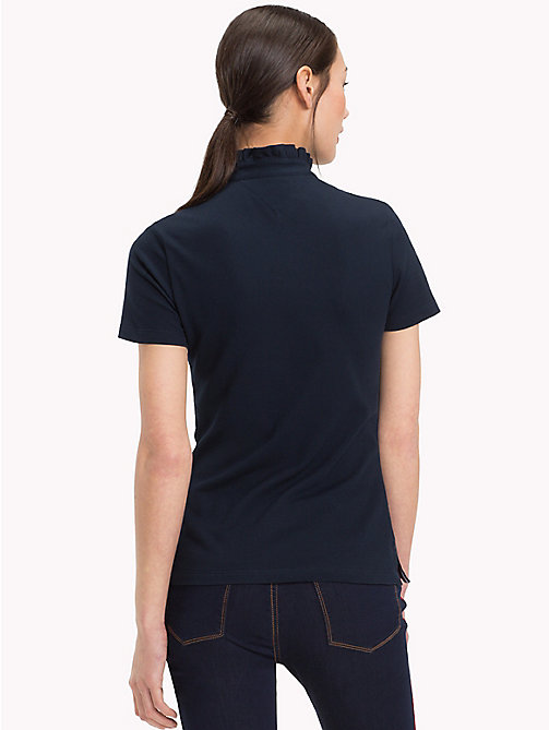 TOMMY HILFIGER Frill Neck Polo Shirt - MIDNIGHT - TOMMY HILFIGER Polo Shirts - detail image 1