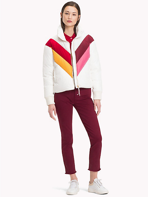 TOMMY HILFIGER Colour-Blocked Down Jacket - SNOW WHITE COLORBLOCK - TOMMY HILFIGER Clothing - detail image 1