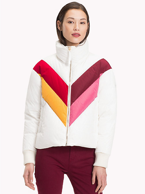 TOMMY HILFIGER Colour-Blocked Down Jacket - SNOW WHITE COLORBLOCK - TOMMY HILFIGER Clothing - main image