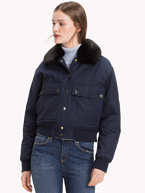 TOMMY HILFIGER Organic Cotton Aviator Bomber Jacket - MIDNIGHT - TOMMY HILFIGER Sustainable Evolution - main image