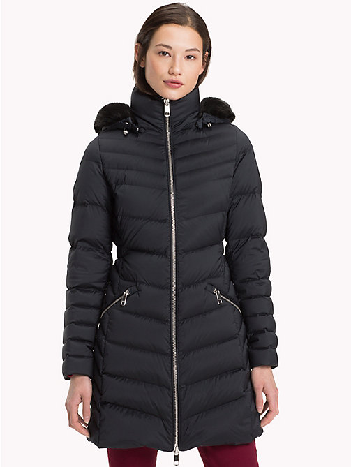 TOMMY HILFIGER Long Hooded Down Coat - BLACK BEAUTY - TOMMY HILFIGER Sustainable Evolution - main image