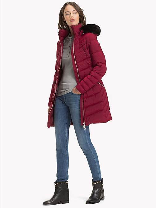 TOMMY HILFIGER Long Hooded Down Coat - CABERNET - TOMMY HILFIGER Coats - detail image 1