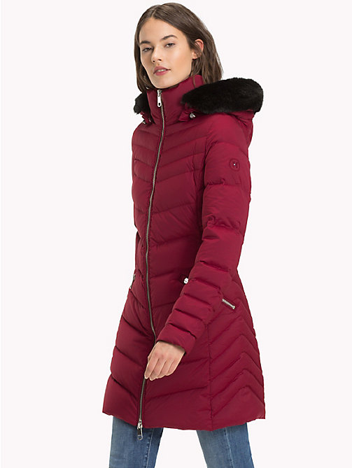 TOMMY HILFIGER Long Hooded Down Coat - CABERNET - TOMMY HILFIGER Sustainable Evolution - main image