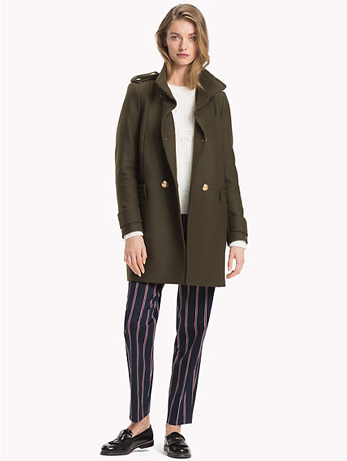 TOMMY HILFIGER Funnel Neck Double-Breasted Coat - OLIVE NIGHT - TOMMY HILFIGER Coats & Jackets - detail image 1