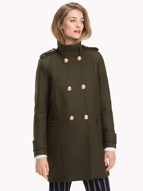 TOMMY HILFIGER Funnel Neck Double-Breasted Coat - OLIVE NIGHT - TOMMY HILFIGER Coats - main image