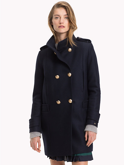 TOMMY HILFIGER Funnel Neck Double-Breasted Coat - MIDNIGHT - TOMMY HILFIGER Coats - main image