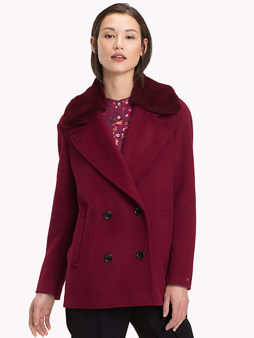 TOMMY HILFIGER Faux Fur Trim Blazer - CABERNET - TOMMY HILFIGER NEW IN - main image