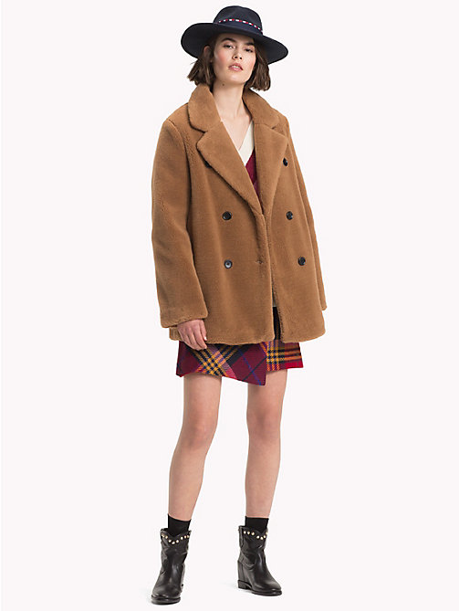 TOMMY HILFIGER Short Teddy Fur Pea Coat - RAWHIDE - TOMMY HILFIGER Coats & Jackets - detail image 1