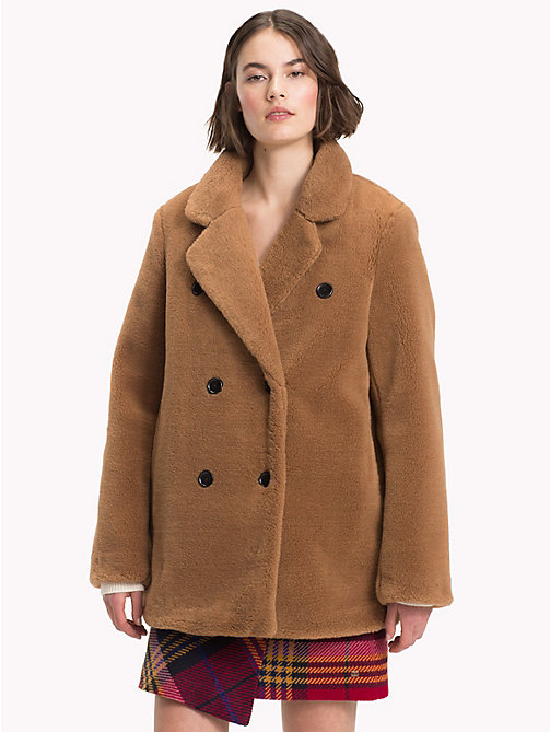 TOMMY HILFIGER Short Teddy Fur Pea Coat - RAWHIDE - TOMMY HILFIGER Coats & Jackets - main image