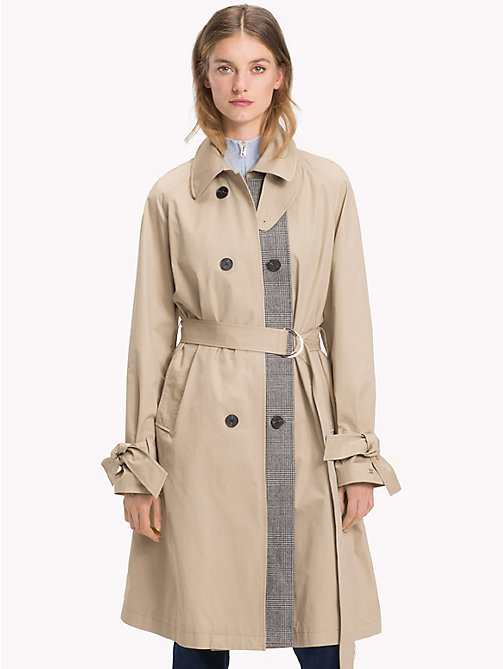 TOMMY HILFIGER Check Stripe Trench Coat - CLASSIC CAMEL - TOMMY HILFIGER Women - main image