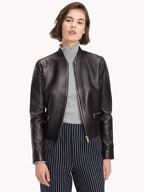 TOMMY HILFIGER Collarless Leather Jacket - BLACK BEAUTY - TOMMY HILFIGER The Office Edit - main image