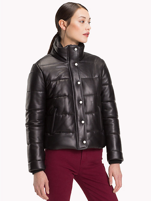 TOMMY HILFIGER Leather Puffer Jacket - BLACK BEAUTY - TOMMY HILFIGER Leather Jackets - main image
