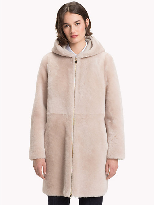 TOMMY HILFIGER Hooded Long Shearling Coat - GLACIER GREY - TOMMY HILFIGER Clothing - main image