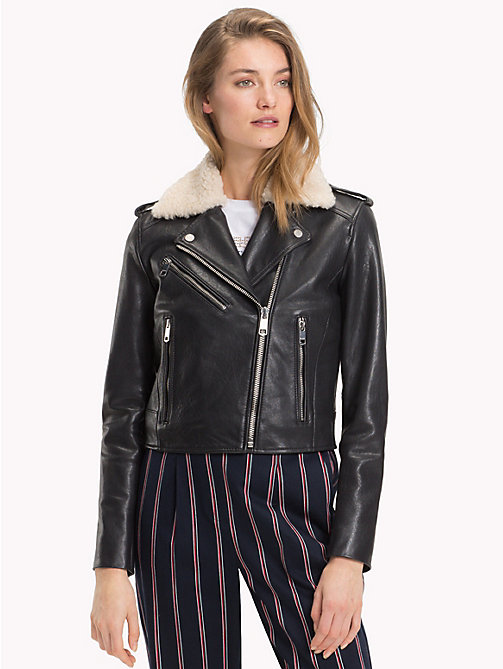 TOMMY HILFIGER Shearling Collar Biker Jacket - BLACK BEAUTY - TOMMY HILFIGER Leather Jackets - main image