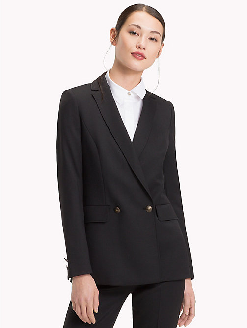 TOMMY HILFIGER Double-Breasted Wool Blazer - BLACK BEAUTY - TOMMY HILFIGER Clothing - main image