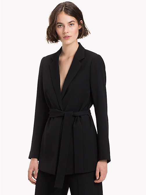 TOMMY HILFIGER Belted Crepe Blazer - BLACK BEAUTY - TOMMY HILFIGER The Office Edit - main image
