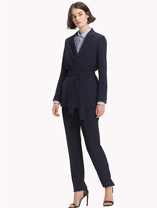 TOMMY HILFIGER Belted Crepe Blazer - MIDNIGHT - TOMMY HILFIGER Clothing - detail image 1