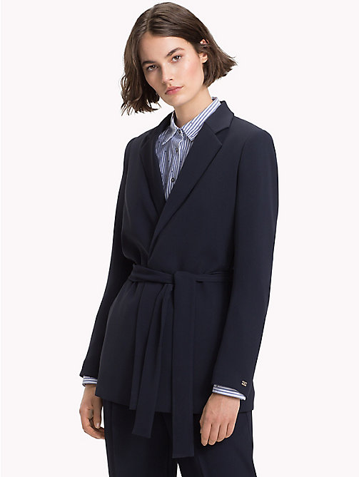 TOMMY HILFIGER Belted Crepe Blazer - MIDNIGHT - TOMMY HILFIGER The Office Edit - main image