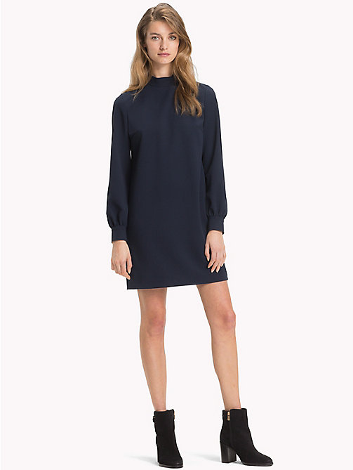 TOMMY HILFIGER Balloon Sleeve Crepe Dress - MIDNIGHT - TOMMY HILFIGER Mini - main image