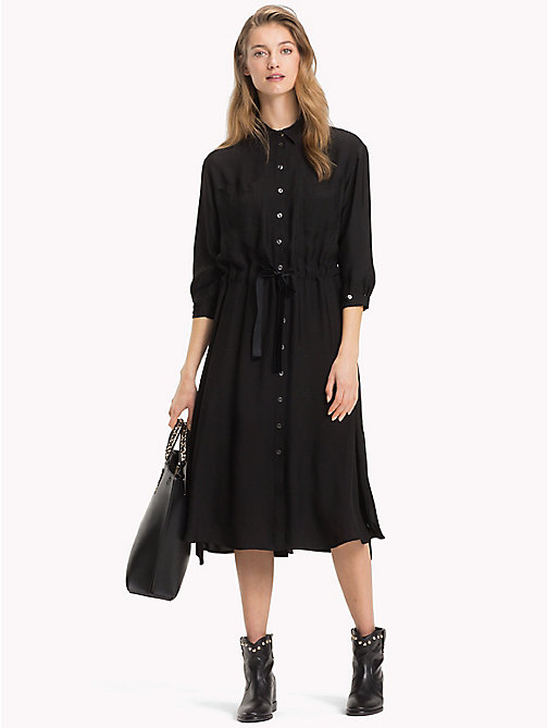TOMMY HILFIGER Hemdkleid mit Bindeband in der Taille - BLACK BEAUTY - TOMMY HILFIGER Midi - main image