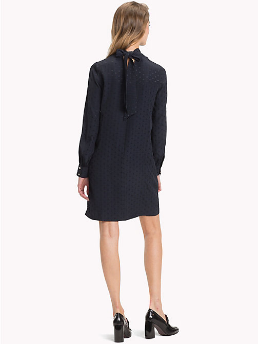 TOMMY HILFIGER Gepunktetes Jacquard-Kleid - MIDNIGHT - TOMMY HILFIGER Party-Looks - main image 1