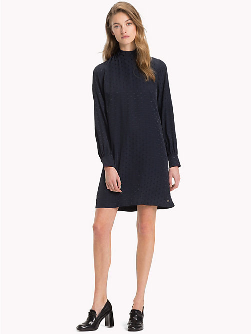 TOMMY HILFIGER Jacquard Polka Dot Dress - MIDNIGHT - TOMMY HILFIGER Party Looks - main image