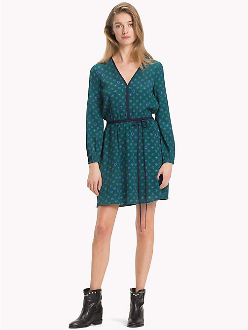 TOMMY HILFIGER Micro Print Crepe Dress - FUN FOULARD PRT / JUNE BUG - TOMMY HILFIGER Dresses & Skirts - main image