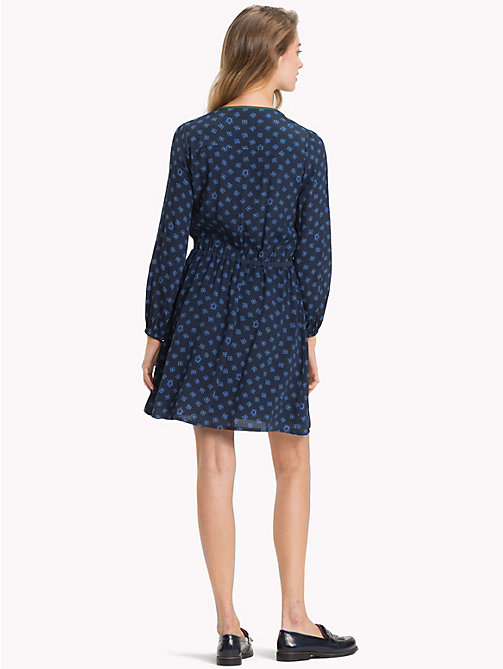 TOMMY HILFIGER Micro Print Crepe Dress - FUN FOULARD BLUE PRT / SKY CAPTAIN - TOMMY HILFIGER Dresses - detail image 1
