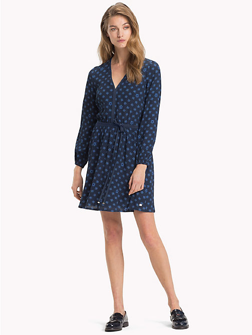 TOMMY HILFIGER Micro Print Crepe Dress - FUN FOULARD BLUE PRT / SKY CAPTAIN - TOMMY HILFIGER Dresses - main image