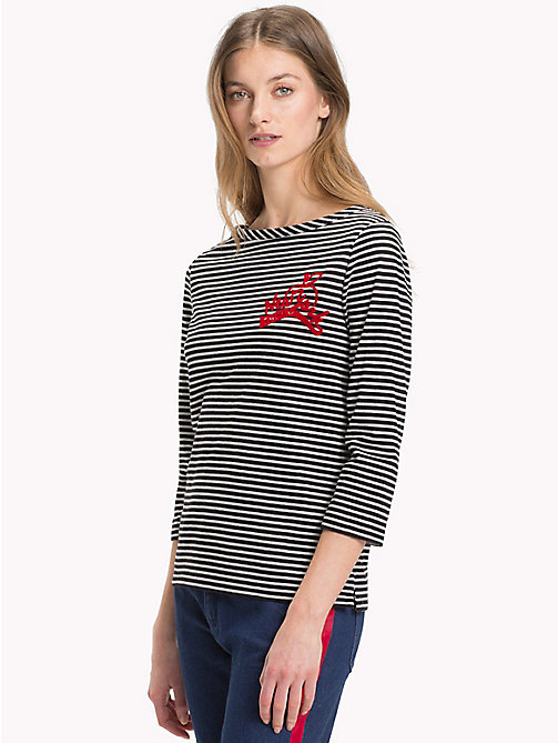 TOMMY HILFIGER Gestreiftes Top - LIGHT GREY HTR / BLACK STP - TOMMY HILFIGER Die besten Outfits - main image