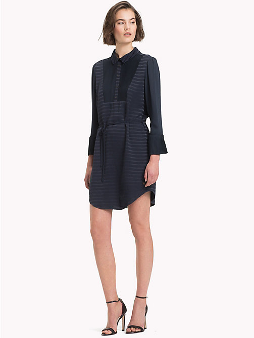 TOMMY HILFIGER Stripe Weave Shirt Dress - 413-MIDNIGHT - TOMMY HILFIGER NEW IN - main image