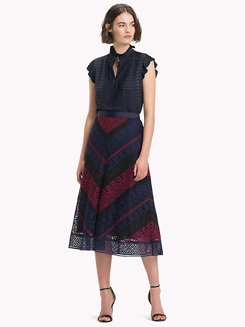 TOMMY HILFIGER Chevron Lace Midi Skirt - CABERNET / SKY CAPTAIN MULTI - TOMMY HILFIGER Dresses & Skirts - main image