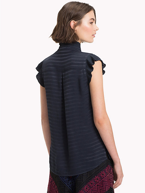 TOMMY HILFIGER Ruffled Ribbon Tie Blouse - MIDNIGHT - TOMMY HILFIGER Party Looks - detail image 1