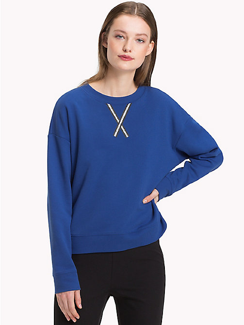 TOMMY HILFIGER Tape Detail Relaxed Fit Sweatshirt - MAZARINE BLUE - TOMMY HILFIGER Clothing - main image