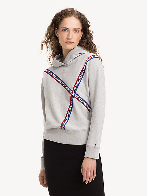 TOMMY HILFIGER Relaxed Fit Logo Tape Hoody - LIGHT GREY HTR - TOMMY HILFIGER Hoodies - main image