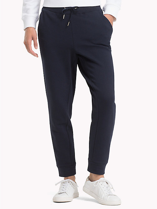 TOMMY HILFIGER Cotton Terry Joggers - MIDNIGHT - TOMMY HILFIGER Trousers - main image