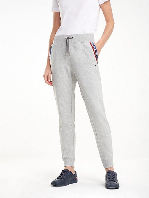 TOMMY HILFIGER Logo Tape Joggers - LIGHT GREY HTR - TOMMY HILFIGER Cropped Trousers - main image