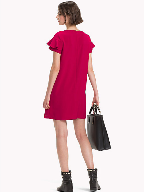 TOMMY HILFIGER Frill Sleeve Mini Dress - CERISE - TOMMY HILFIGER Mini - detail image 1