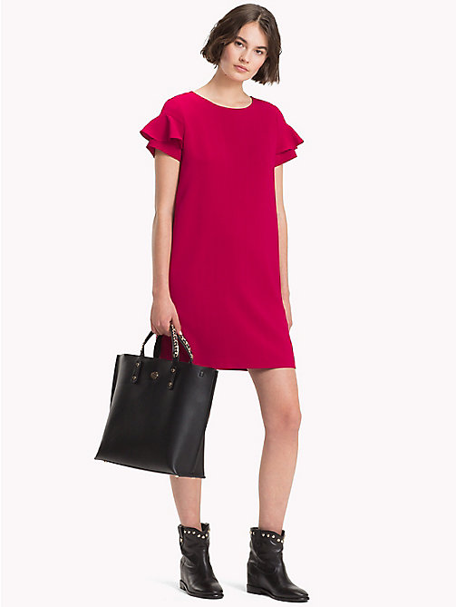 TOMMY HILFIGER Frill Sleeve Mini Dress - CERISE - TOMMY HILFIGER Mini - main image
