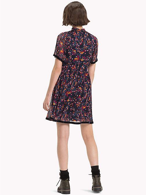 TOMMY HILFIGER High Neck Ribbon Dress - FOLKLORE FLORAL PRT / SKY CAPTAIN - TOMMY HILFIGER NEW IN - detail image 1