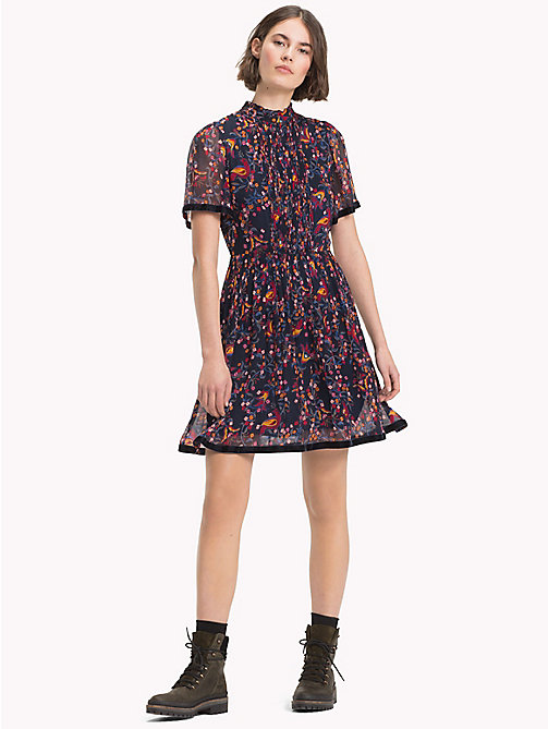 TOMMY HILFIGER High Neck Ribbon Dress - FOLKLORE FLORAL PRT / SKY CAPTAIN - TOMMY HILFIGER NEW IN - main image