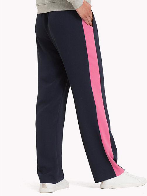TOMMY HILFIGER Colour Blocked Satin Trousers - MIDNIGHT - TOMMY HILFIGER Trousers & Shorts - detail image 1