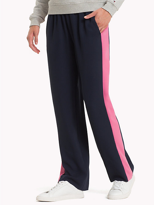 TOMMY HILFIGER Colour Blocked Satin Trousers - MIDNIGHT - TOMMY HILFIGER Clothing - main image
