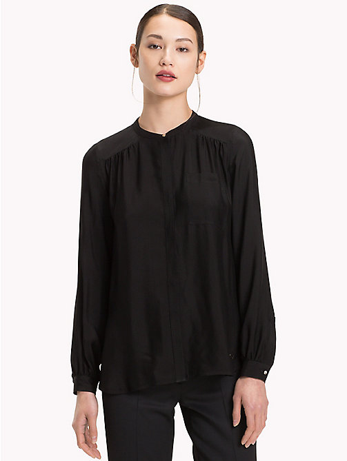 TOMMY HILFIGER Mandarin Collar Blouse - BLACK BEAUTY - TOMMY HILFIGER Blouses - main image
